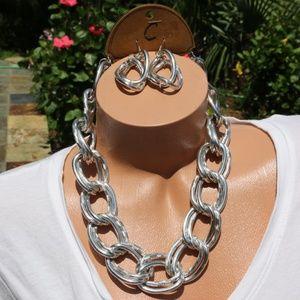 Large Chunky Boho Chain Statement Necklace Set